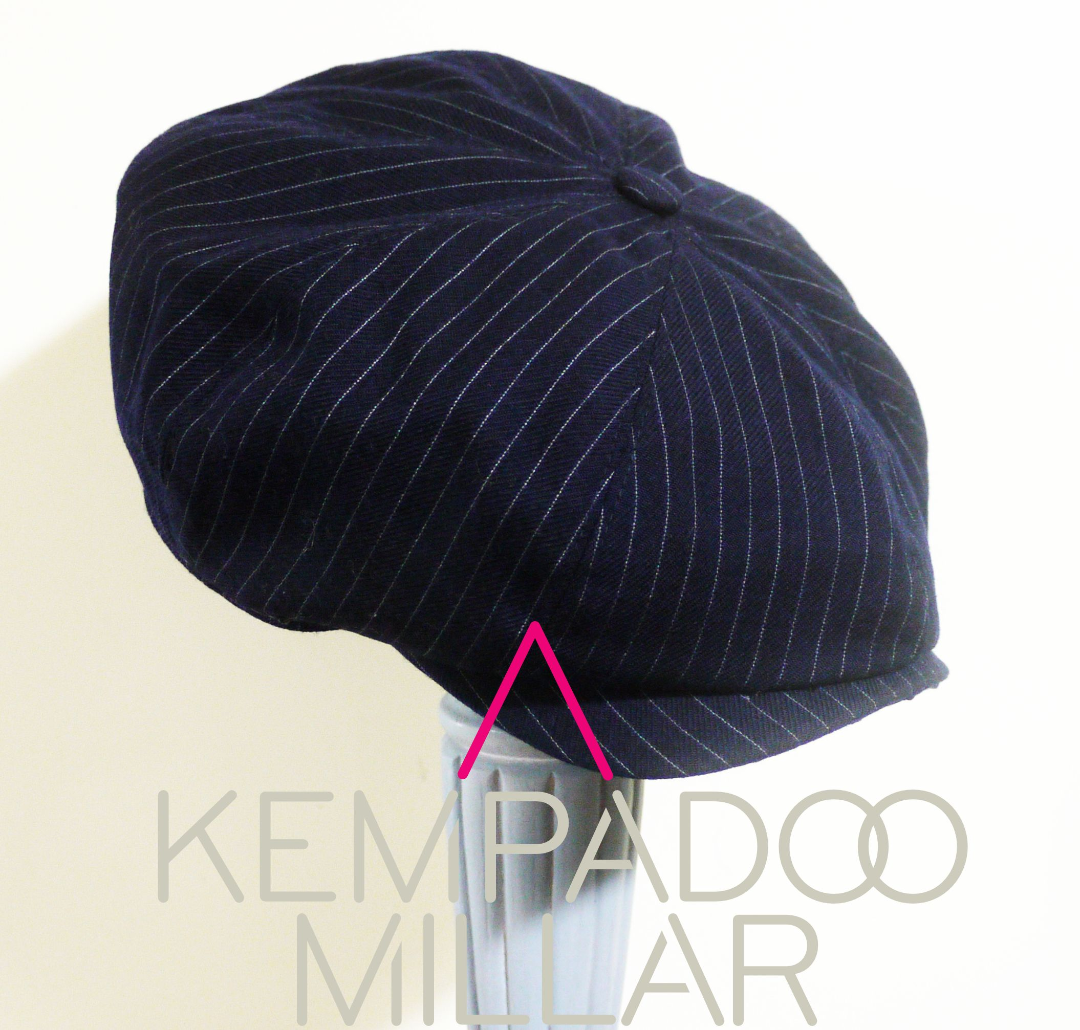 KEMPADOO MILLAR Navy with Silver Pinstripe. Peaky Blinder inspired Bespoke  Baker Boy Cap. Available at www.kempadoo.com. BRITISH MENS ACCESSORIES 94b02768620