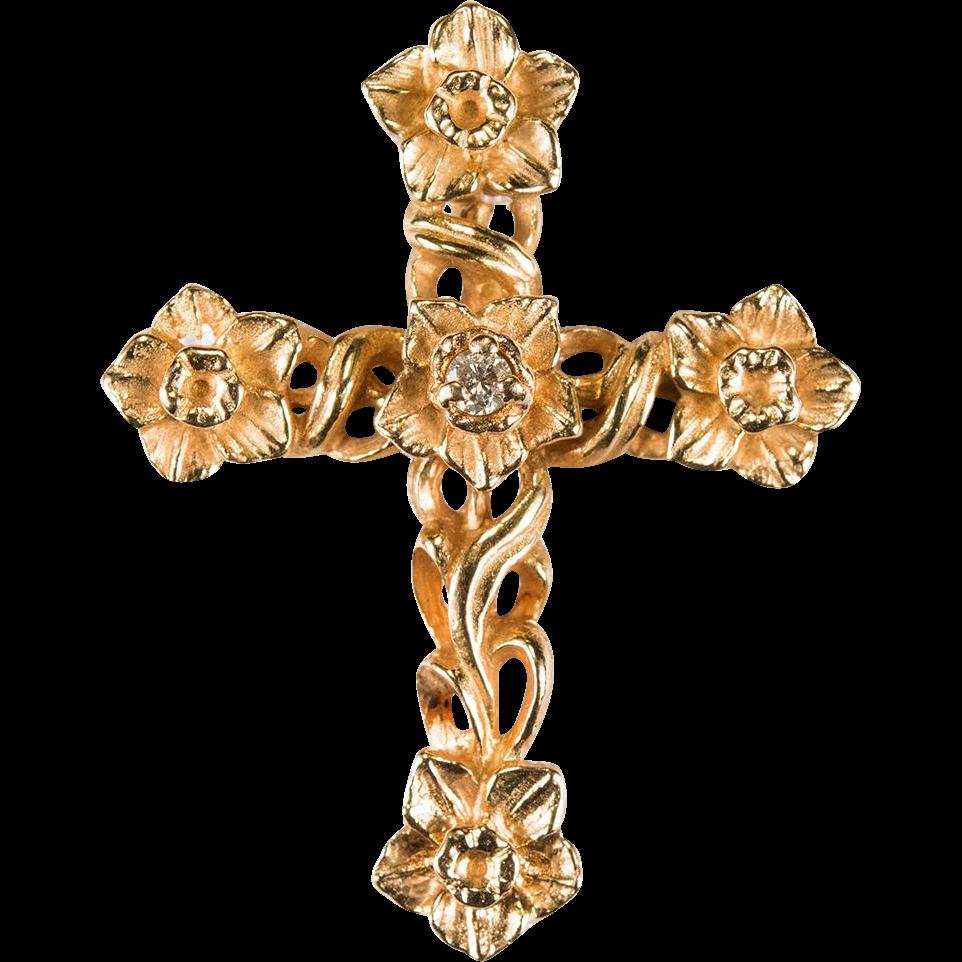 Daffodils diamond cross 14k rose gold flower cross pendant daffodils diamond cross 14k rose gold flower cross pendant aloadofball Choice Image
