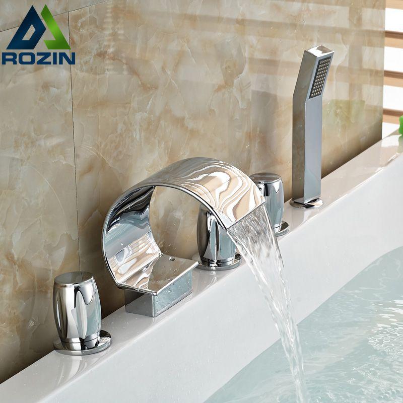 Chrome Waterfall Spout Deck Mount Bathtub Faucet 5 Holes Widespread Tub  Mixer Tap Three Lever Faucet