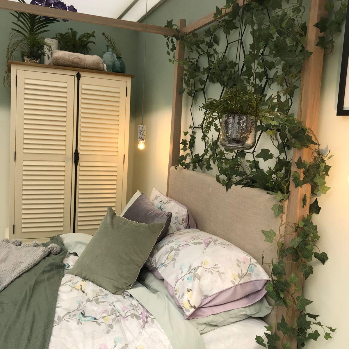 Beautiful bedroom, green tones with blush pinks and neutrals. Bedroom inspiration #bedroom #bedroominspiration #interiors #interiordesigner