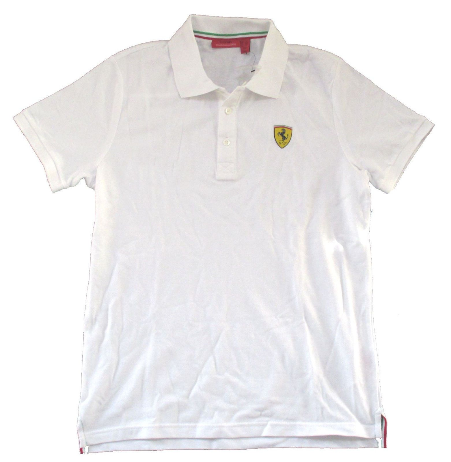 "Ferrari Classic SF /""Crest Logo/"" White Adult Polo Shirt Official Licensed F1"