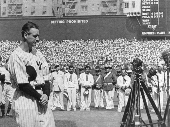 "July 4, 1939: Legendary Yankees first baseman Lou Gehrig delivered his famous ""Luckiest Man on the Face of the Earth"" speech in front of more than 60,000 fans at Yankee Stadium."