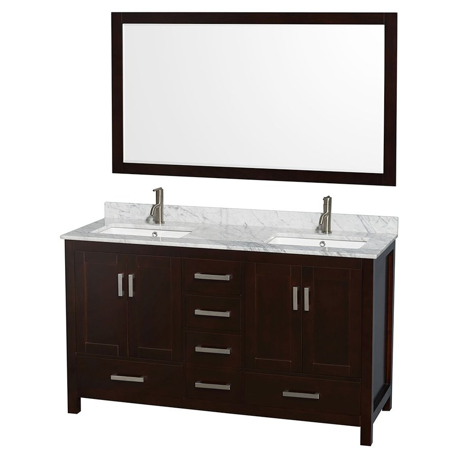 Picture Gallery For Website Wyndham Collection Sheffield Espresso Undermount Double Sink Birch Bathroom Vanity with Natural Marble Top Mirror