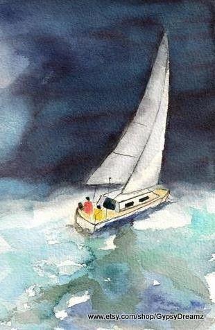 Into The Storm Tableau Peinture Aquarelle Voilier