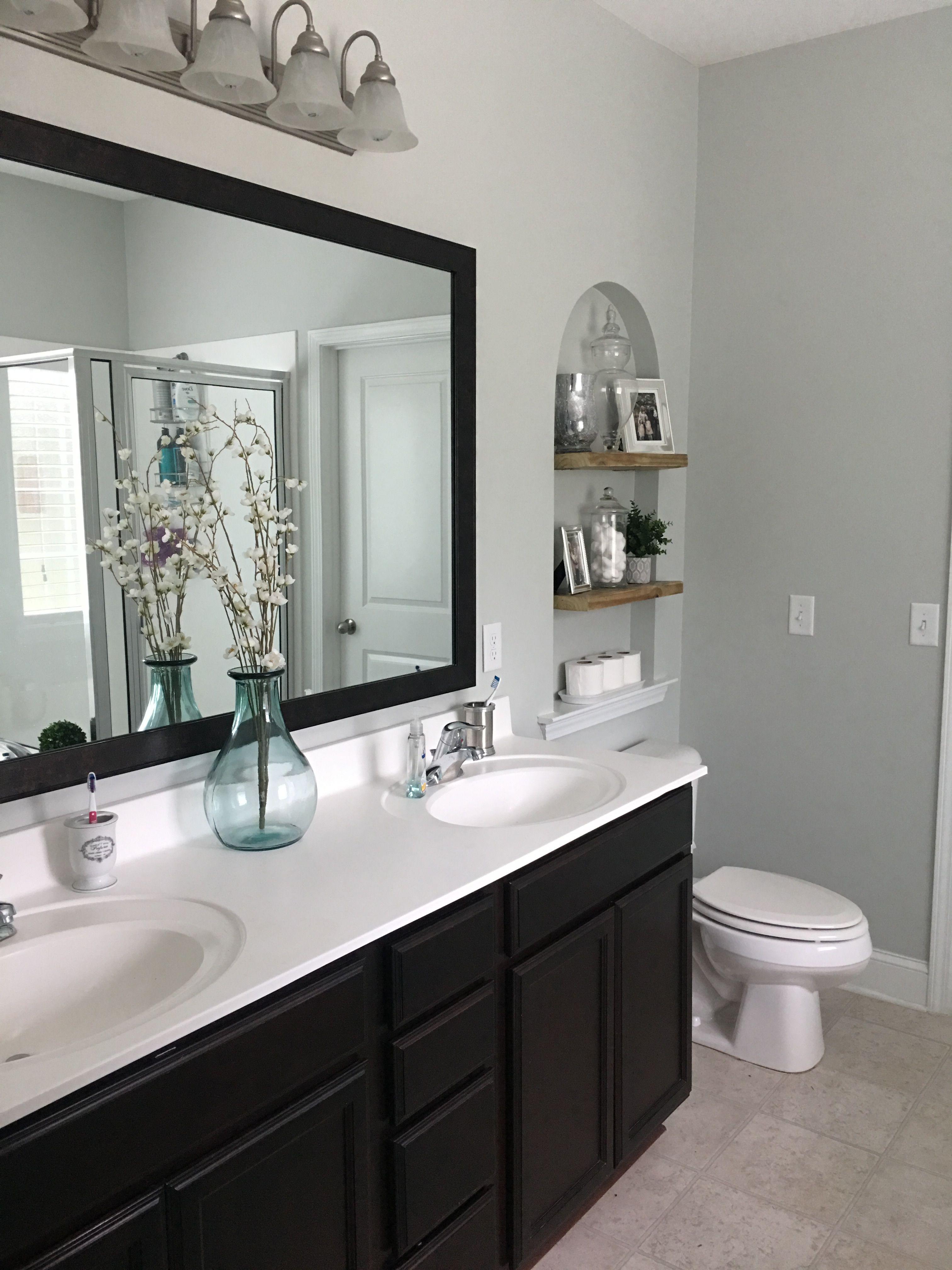 Master Bathroom Update Benjamin Moore Wickham Gray On Walls The