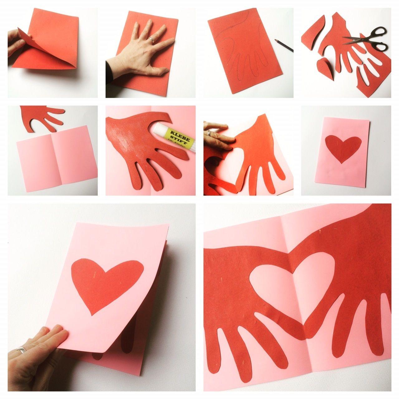 Herzhände Klappkarte Maminka Valentines Day Crafts For Kids