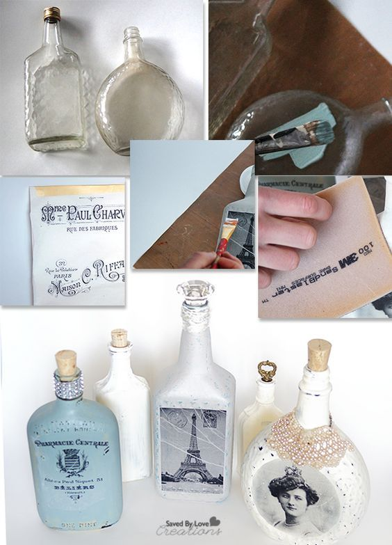 Image Transfer Recycled Glass Bottle Tutorial http://savedbylovecreations.com/2014/07/diy-image-transfer-recycled-glass-bottles/:
