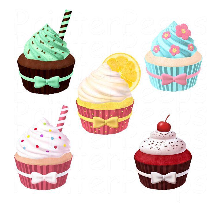 Cake And Art Cupcakes : Cupcake Clipart Scrapbook Pack Digital by PrinterPeeps on ...