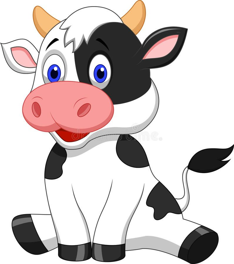 Illustration About Illustration Of Cute Cow Cartoon Sitting Illustration Of Character Food Black 33233144 Cartoon Clip Art Cartoon Cow Cute Baby Cow