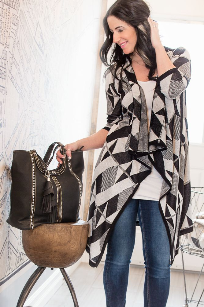 Image of Black and White Waterfall Cardigan