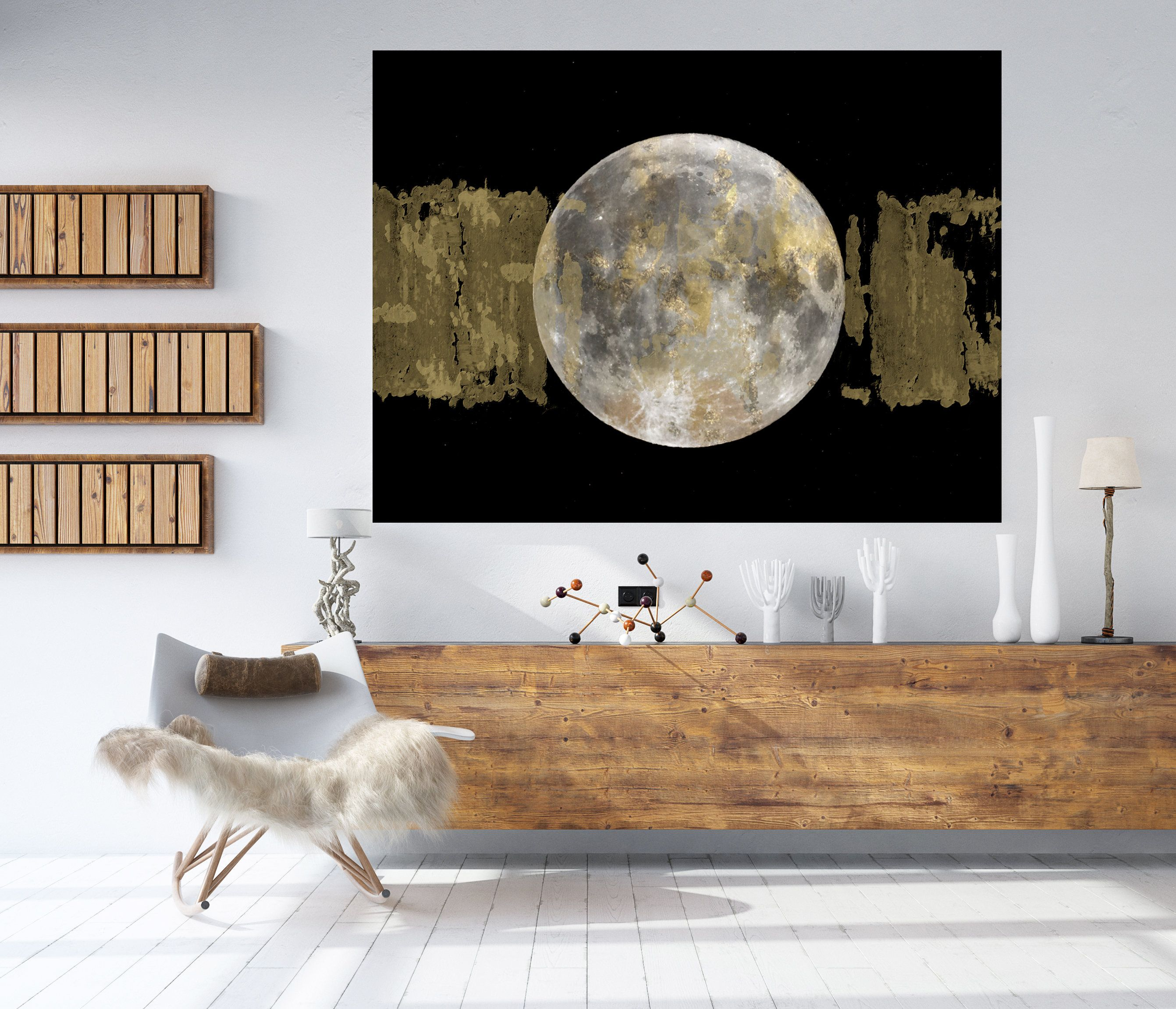 Gold Moon 3 Moon Modern Art Gold Gray Black Moon Canvas Etsy Moon Phases Art Canvas Art Prints Space Art