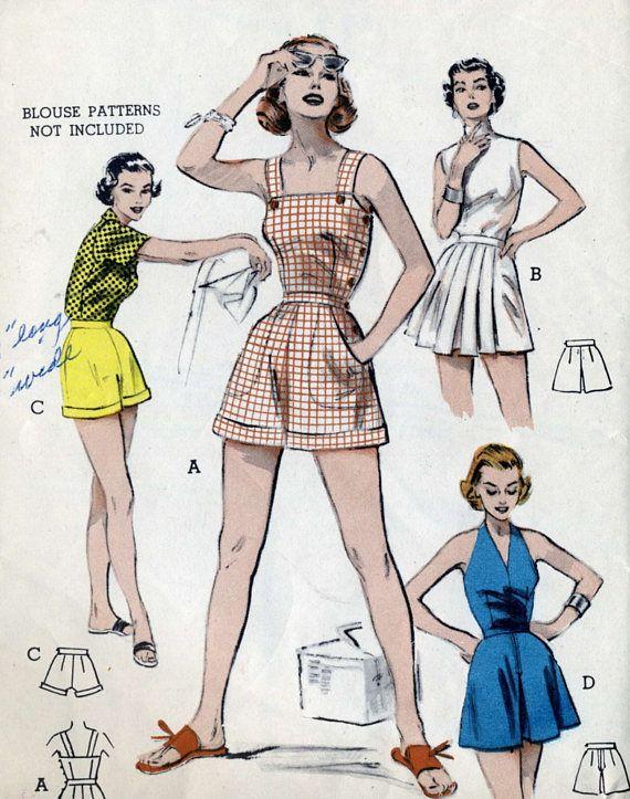 Vintage 50s Butterick 6568 UNCUT Misses Pinup Romper Sunsuit ...