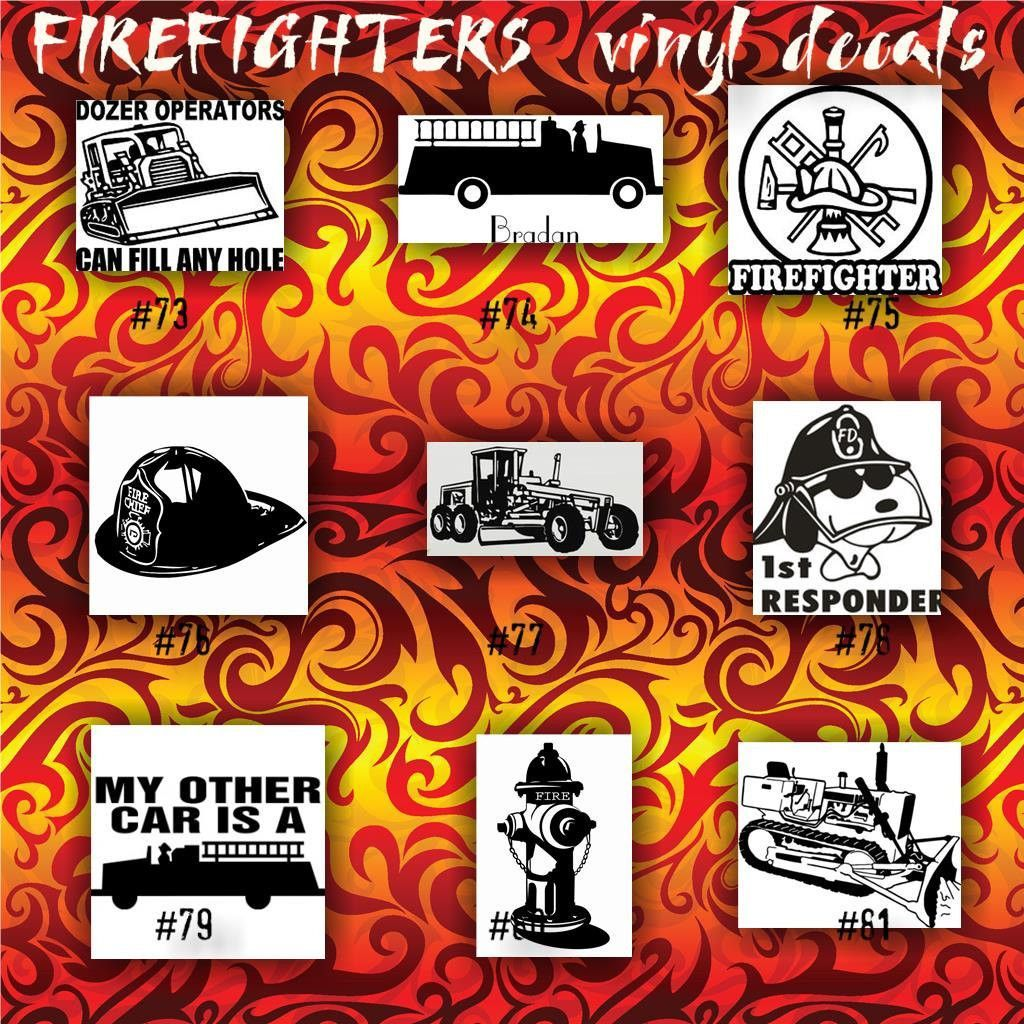 firefighter on his knees with fire hose decals stickers