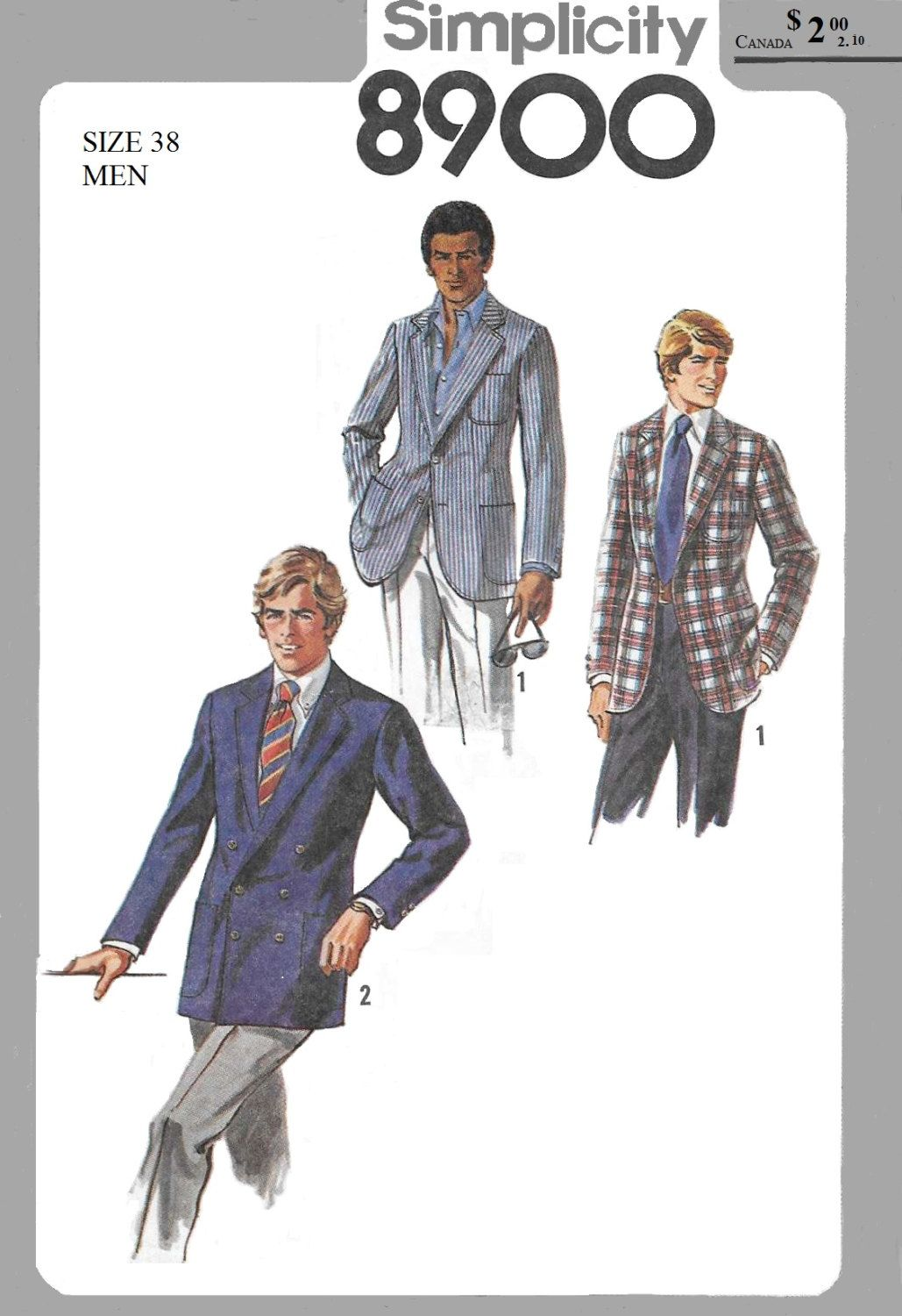 Simplicity 8900 Men\'s 70s Lined Jacket Sewing Pattern Chest 38 in ...