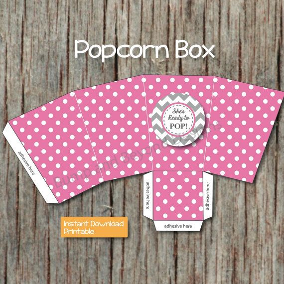 Baby Shower Favor Boxes Pinterest : Diy popcorn box printable baby shower supplies by