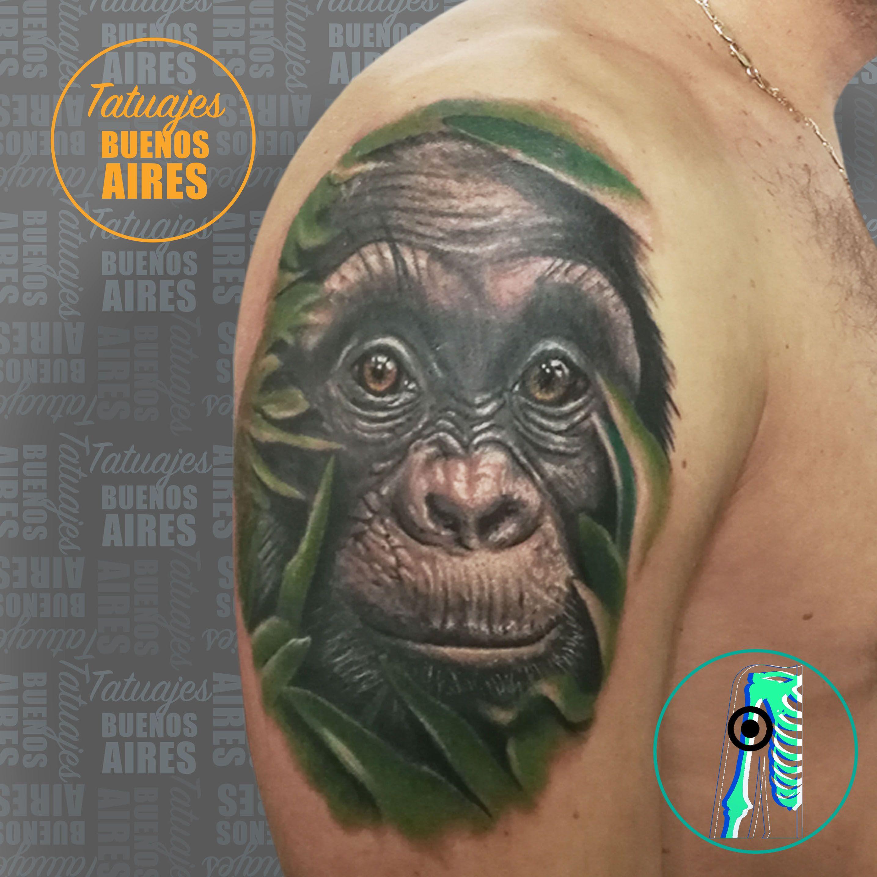 Tattoo Chimpance Realista Cover Up Realizado Por Jose Luis Segura