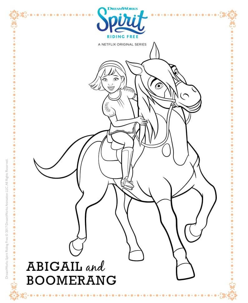 Spirit Riding Free Coloring Page Abigail And Boomerang Free