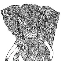 Complicated Elephant Coloring Pages. 100 Free Coloring Pages for Adults and Children Pagini de colorat  gratuite pentru adulti si copii Elephant