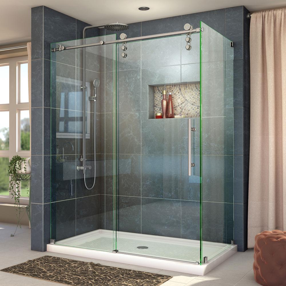 Dreamline Enigma Z 34 1 2 In D X 56 3 8 To 60 3 8 In W X 76 In H Frameless Corner Shower Enclosure In Brushed Stainless Steel Shen 6234600 07 The Home Depo Frameless Shower Enclosures Corner