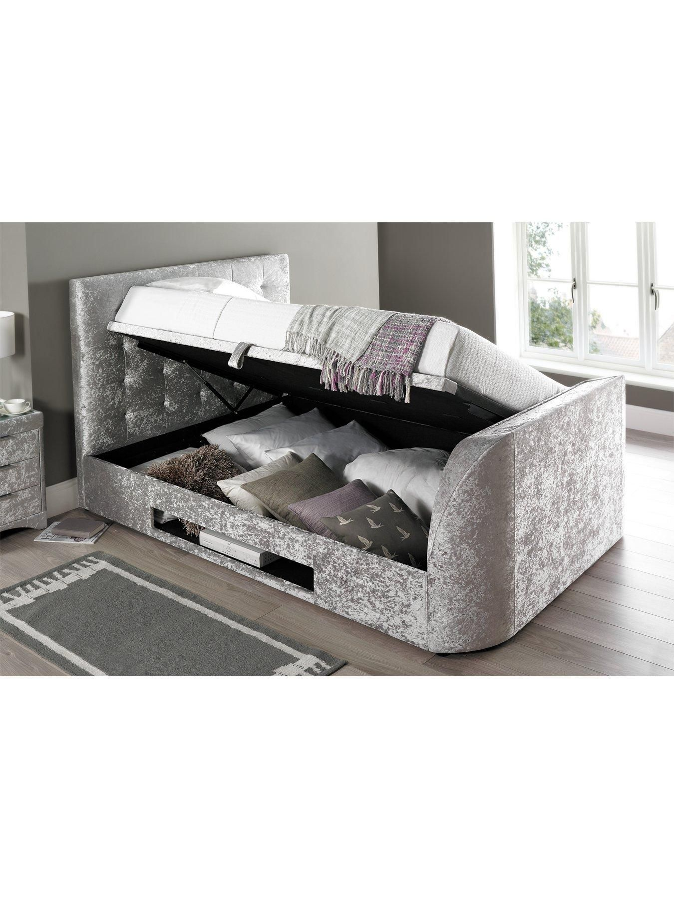 Scarpa Fabric Lift Up Storage Tv Bed Frame With Optional Mattress And Next Day Delivery Save