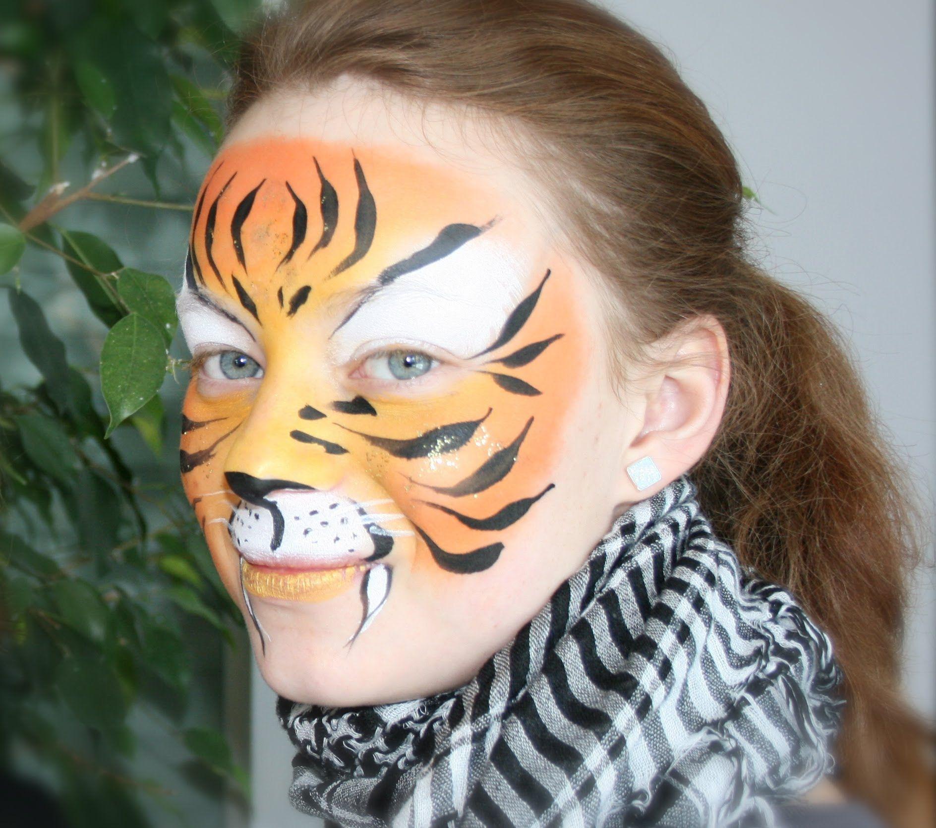 tiger schminken einfache tiger kinderschminken anleitung diy schminken face painting. Black Bedroom Furniture Sets. Home Design Ideas