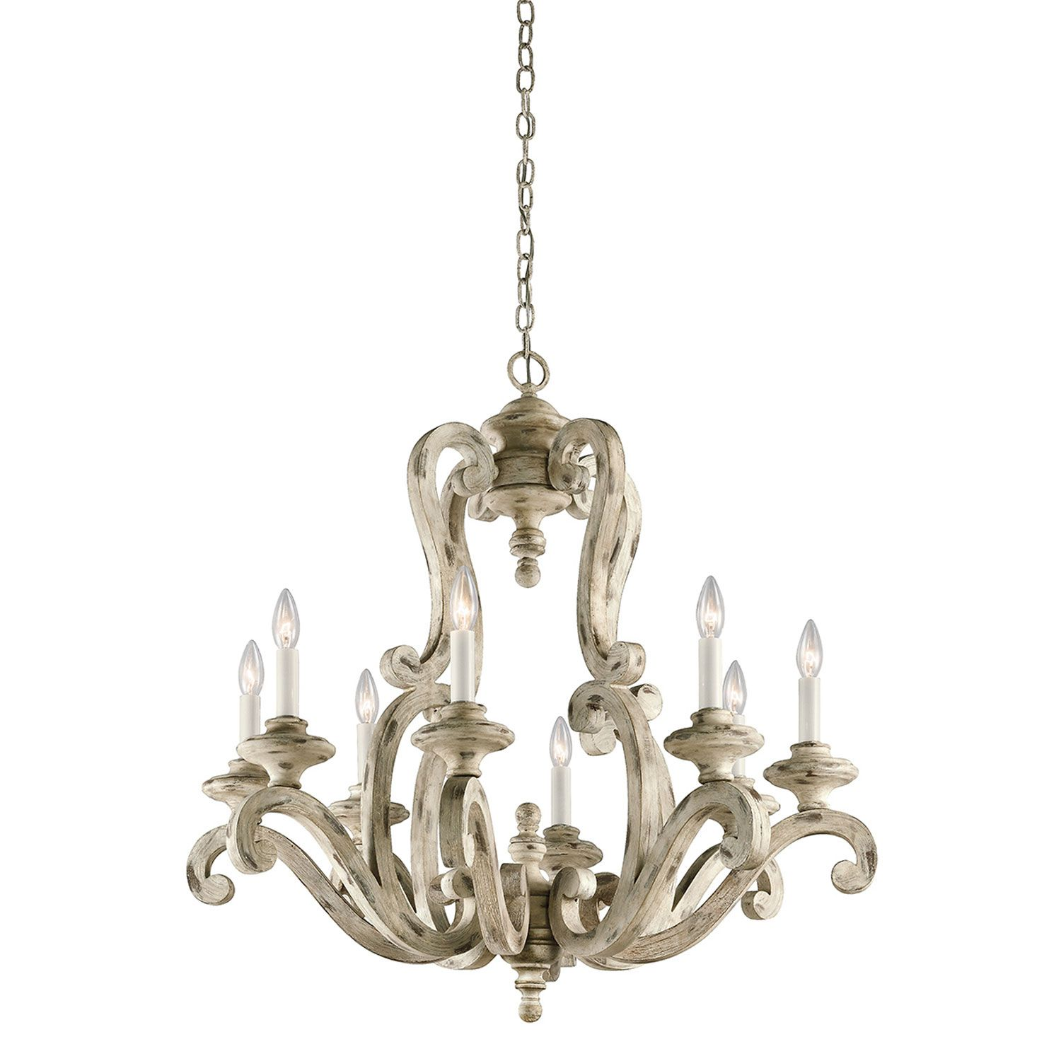 Kichler Hayman Bay Distressed Antique White Eight Light Chandelier