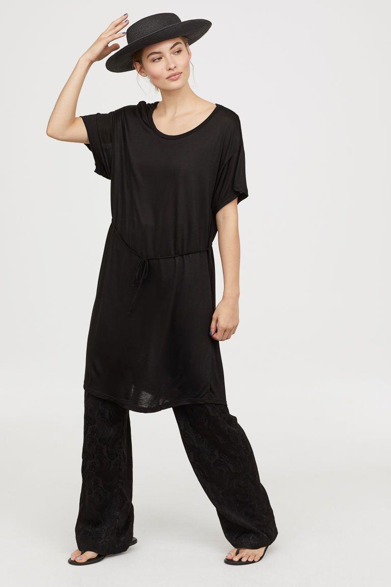 fa73c8d4f57 Robe T-shirt avec ceinture - Noir - FEMME