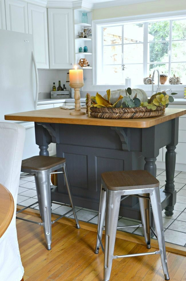 An easy kitchen island makeover using Benjamin Moore Wrought Iron ...