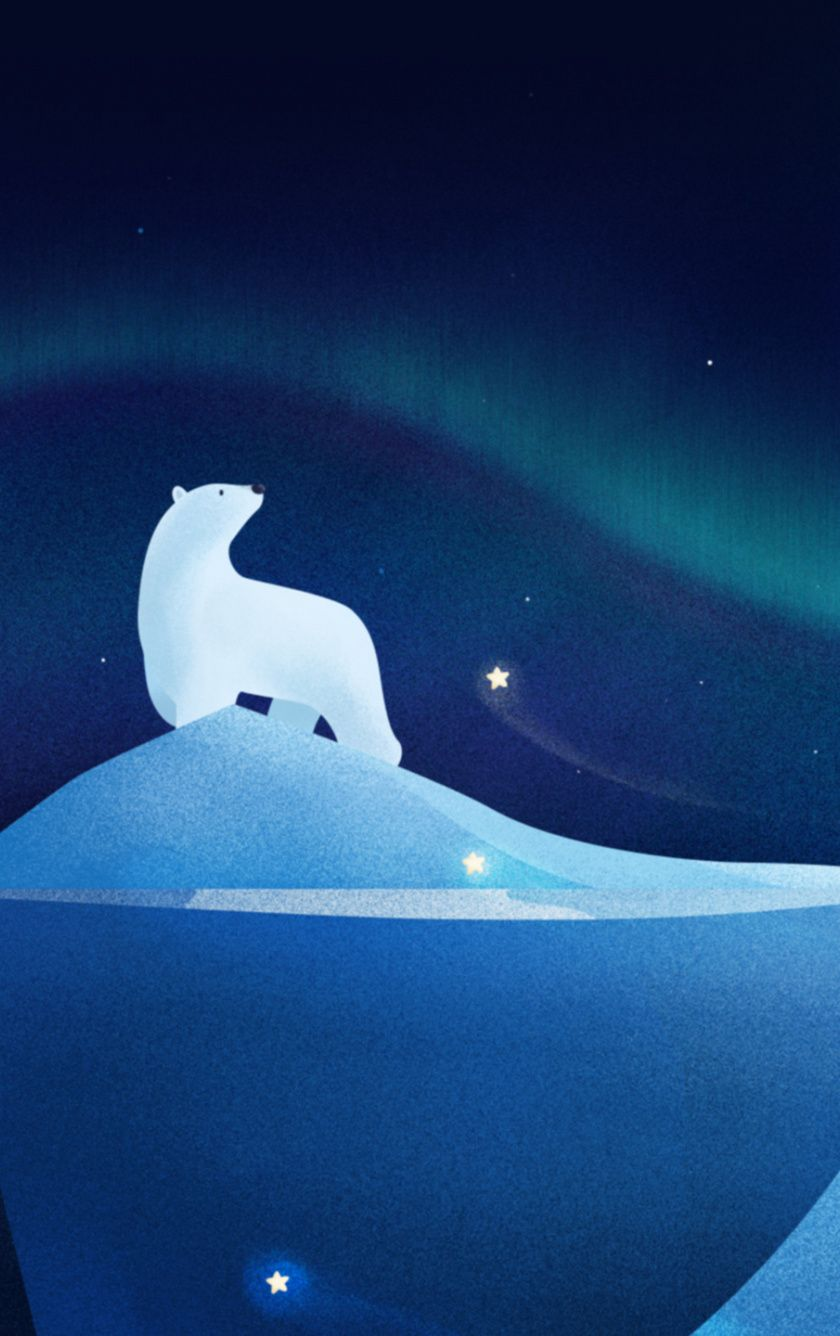 Downaload Polar Bear White Northern Lights Artwork Wallpaper