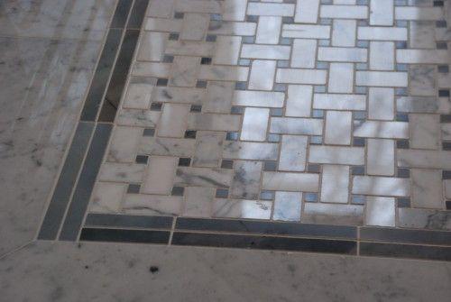 Here Is The Same Basketweave Pattern Marble Tile Flooring It Is A Very Classic Tile Pattern For Marble Tile Floor Basket Weave Tile White Marble Tile Bathroom