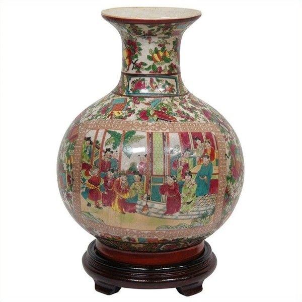 Oriental Furniture Rose Medallion Vase (280 RON) ❤ liked on Polyvore featuring home, home decor, vases, asian urn, crackle vase, asian inspired home decor, oriental urns and bird vase