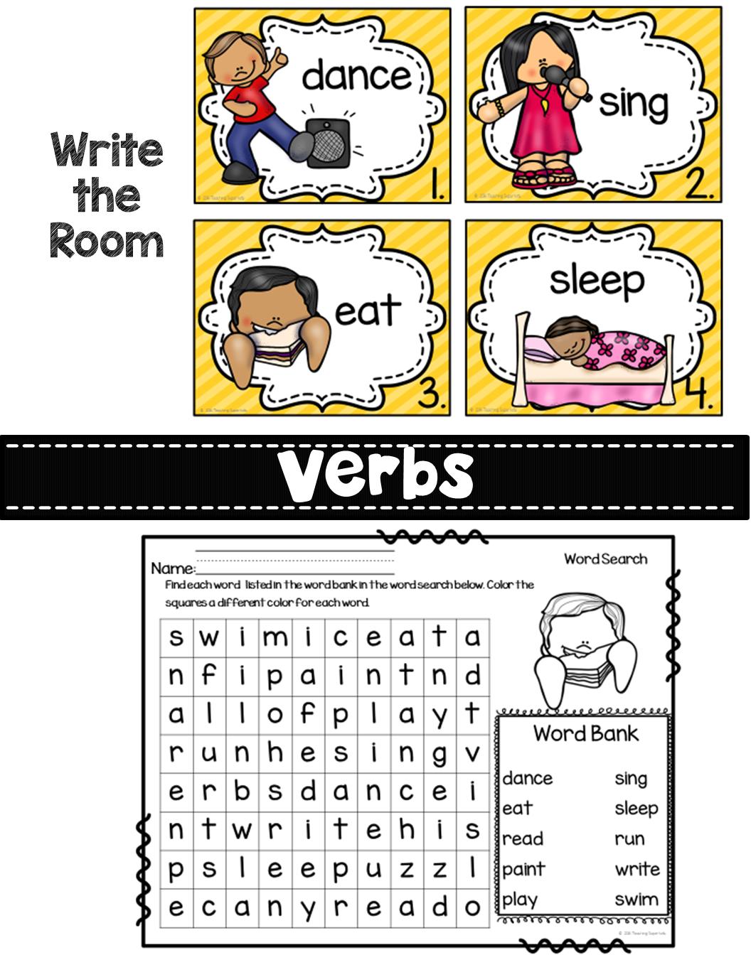 Verb Centers And Activities Phonics Kindergarten Verbs Activities Teaching Verbs [ 1344 x 1056 Pixel ]