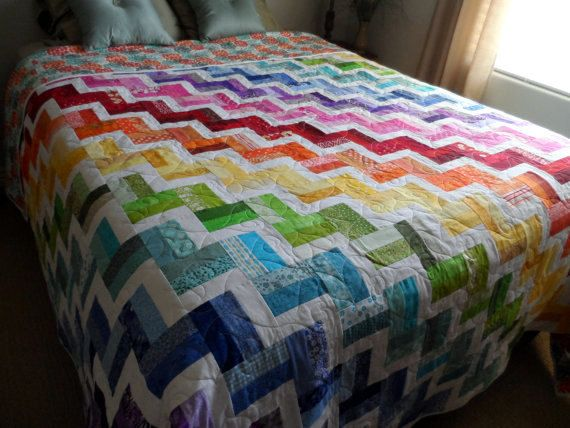 Chevron quilt, modern, queen quilt, colorful, quilted bedding, bedroom decor, handmade, gift quilt, quilted blanket