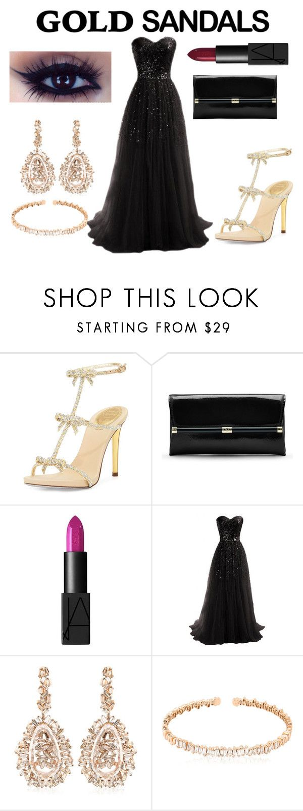 """""""Gold Sandals"""" by elizabethsthename ❤ liked on Polyvore featuring René Caovilla, Diane Von Furstenberg, NARS Cosmetics, Suzanne Kalan and goldsandals"""