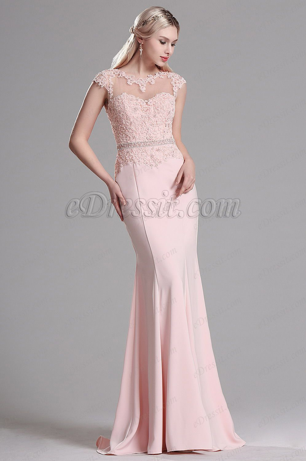 cfd631b9 Pink Lace Beaded Mermaid Evening Dress Prom Gown (36163501) in 2019 ...