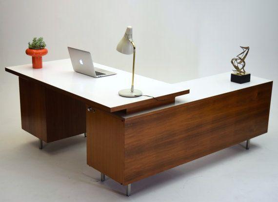 George Nelson Herman Miller Walnut Executive Desk Vintage Mid Century Modern Modern Office Desk Mid Century Modern Desk Law Office Decor