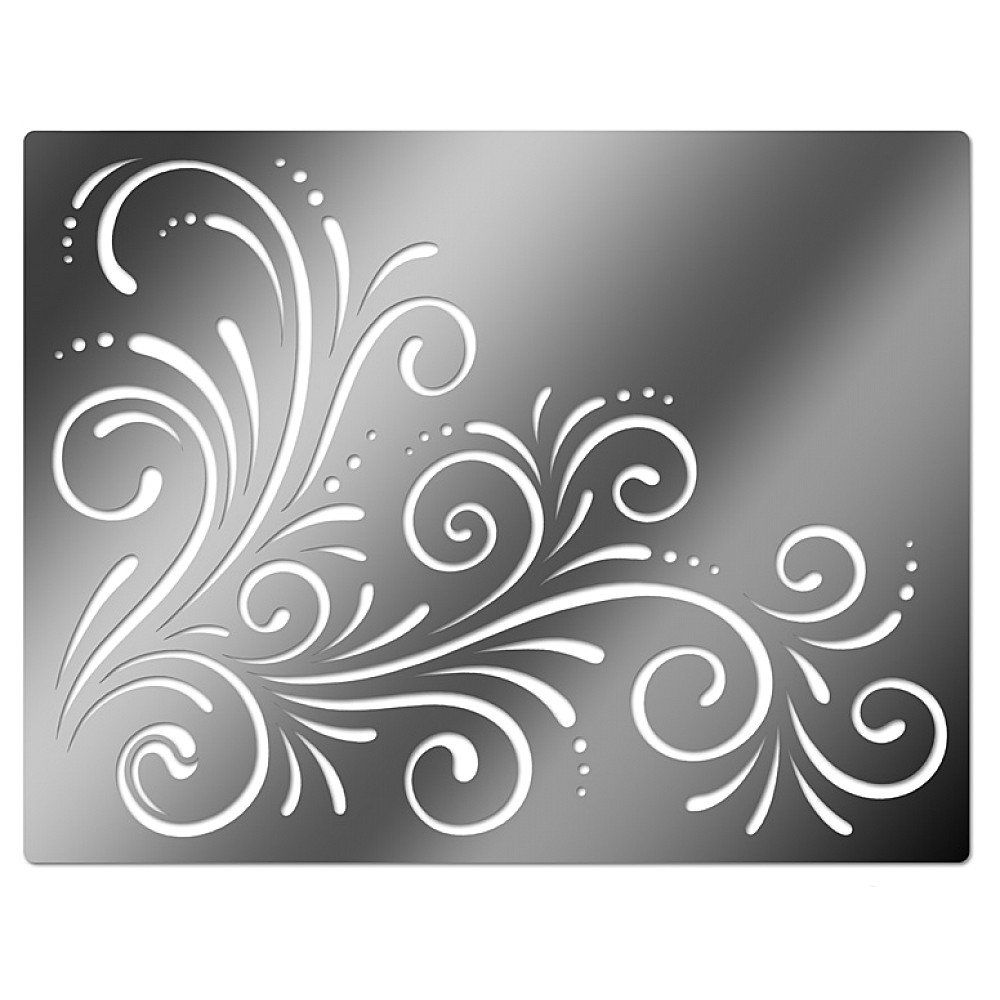Printable Flower Stencil Patterns | Embossing Stencil, Corner Swirls ...