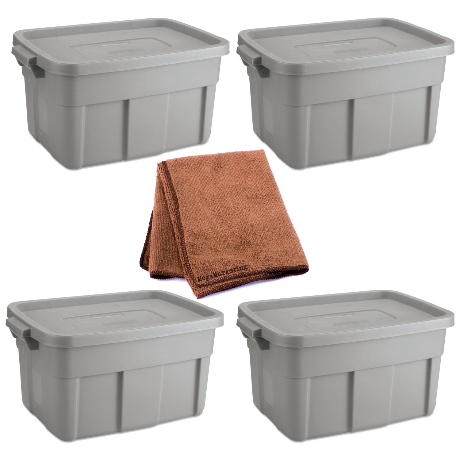 Rubbermaid 14-Gallon Roughneck Storage Box Tote Steel Gray Case of 4 with Cleaning Cloth  sc 1 st  Pinterest & Rubbermaid 14-Gallon Roughneck Storage Box Tote Steel Gray Case o ...