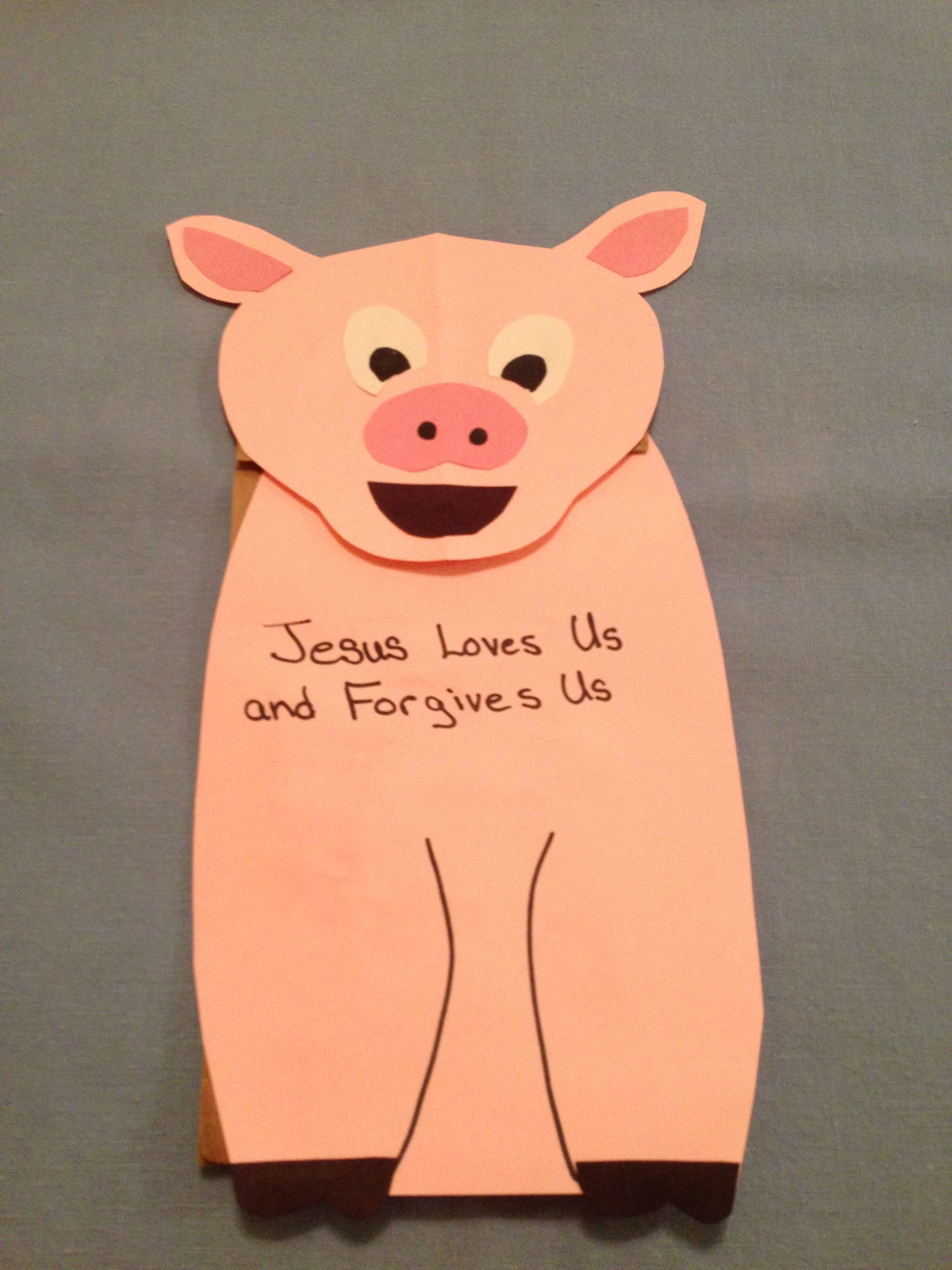 Prodigal Son Paper Bag Pig Puppet