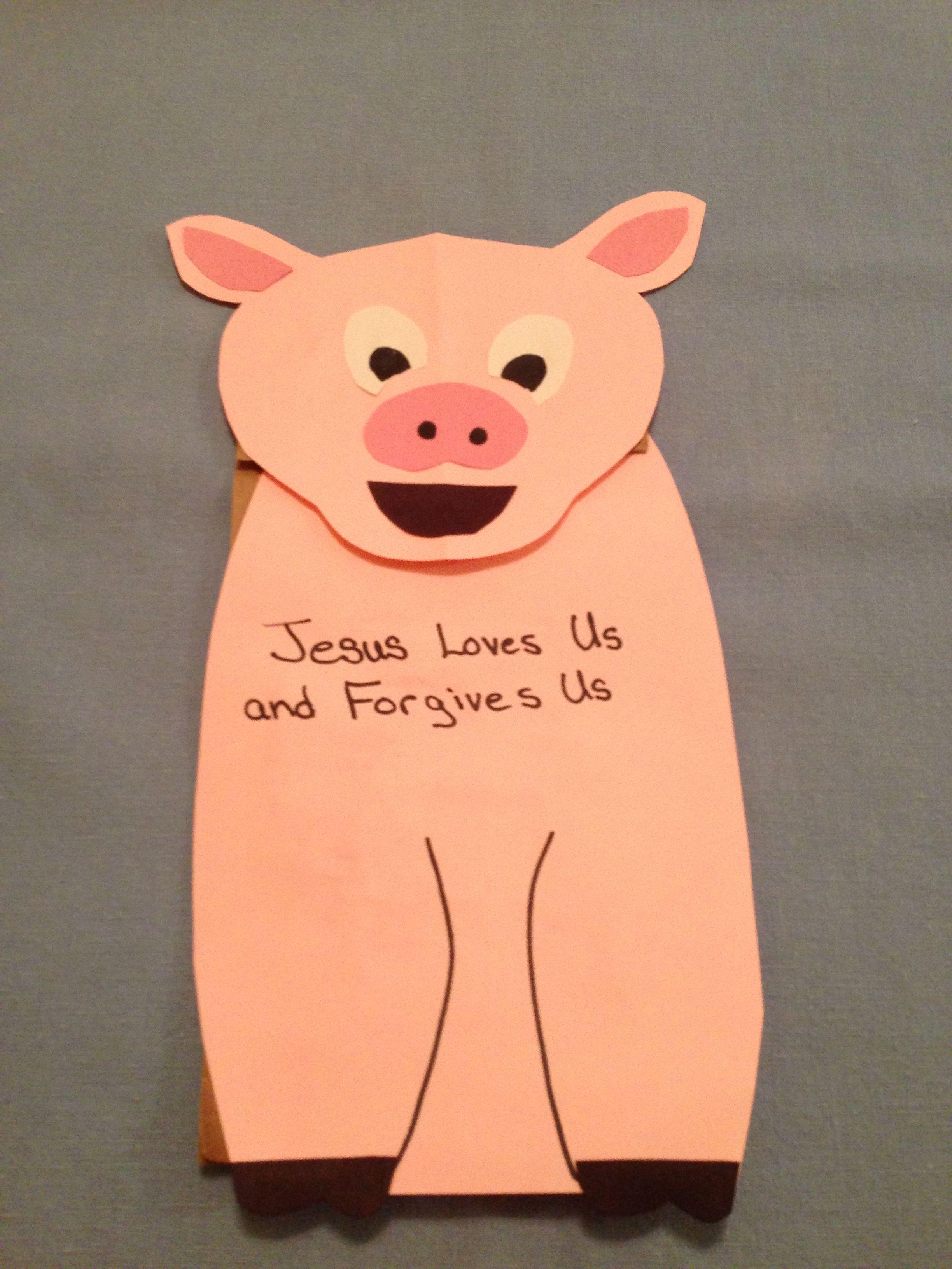 Prodigal Son Paper Bag Pig Puppet
