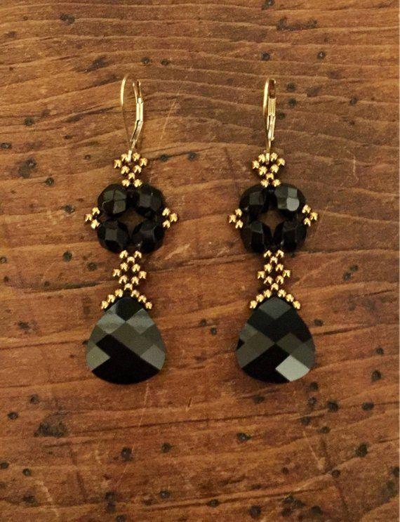 Swarovski schwarze Kristallohrringe schwarze Ohrringe | Etsy