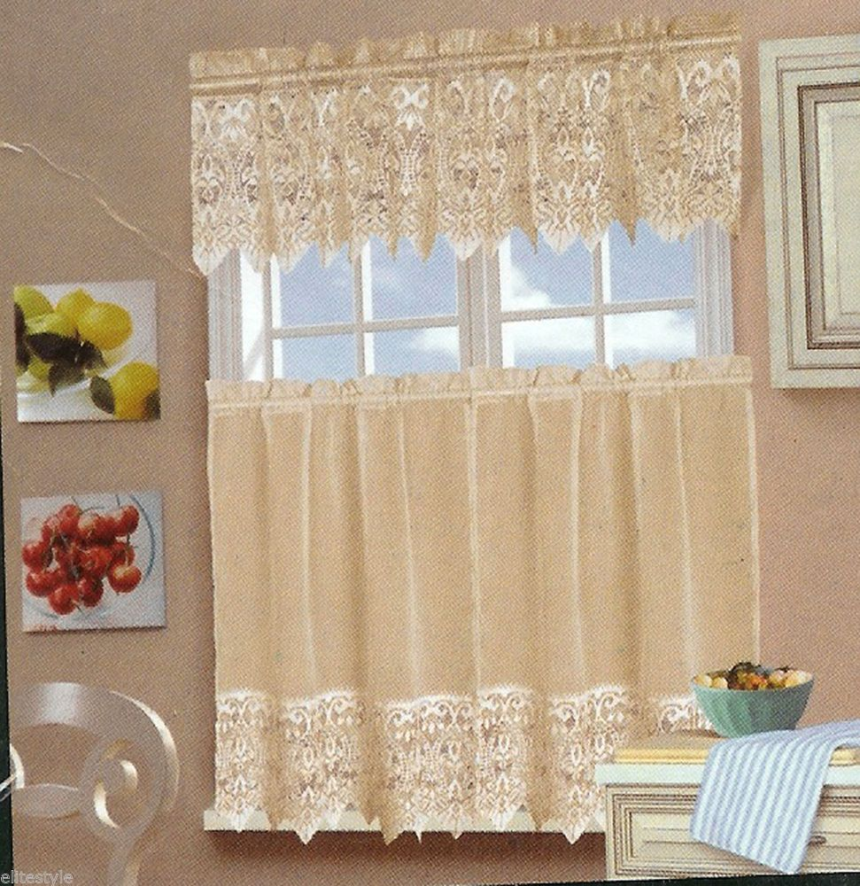 3pcs laura ashley ivory kitchen curtains tiers and valance. Black Bedroom Furniture Sets. Home Design Ideas