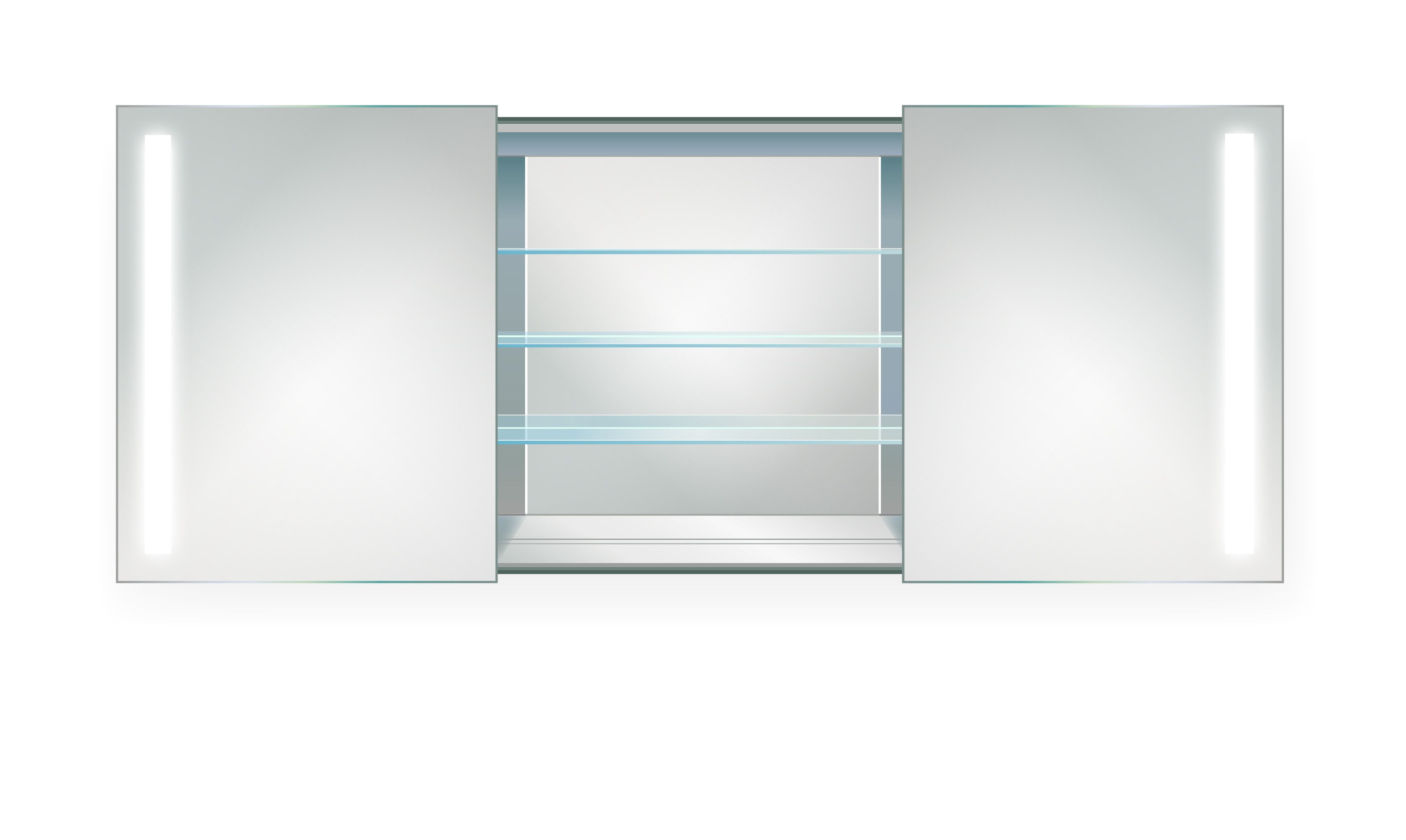 LED Medicine Cabinet 48 Inch X 30 Inch | Lighted 2 Sliding Mirror Doors U0026  Defogger + 3 Glass Shelves