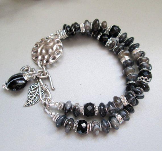 Multistrand Black Botswana Agate Rhinestone and Silver by nina68, $53.00