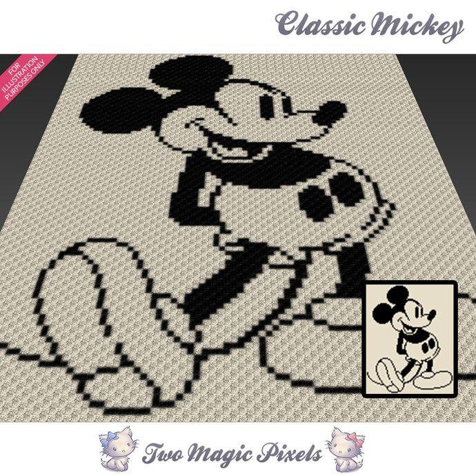 Classic Mickey Crochet Blanket Pattern C2c Cross Stitch Graph