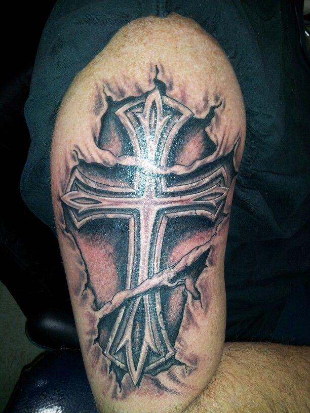 Torn skin tattoo cross tattoo robert 39 s work fontana ca for Skin works tattoo