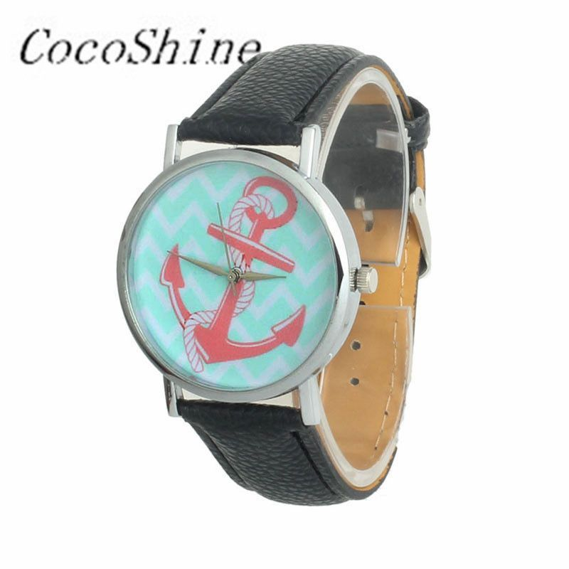 CocoShine ZM-856 High Quality Free shipping & Wholesale Women Anchor Pattern Faux Leather Band Analog Quartz Dial Watch