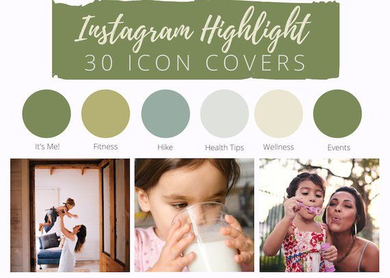 30 Instagram Story Highlight Icons - Green Monochromatic Icon Covers