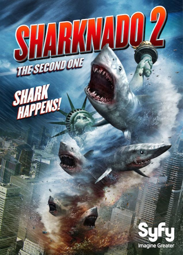 Sharknado 2: The Second One (TV 2014)  USA Disaster horror comedy. Ian Ziering, Tara Reid, Vivica A. Fox, Judd Hirsch. (1/10) 14/09/14