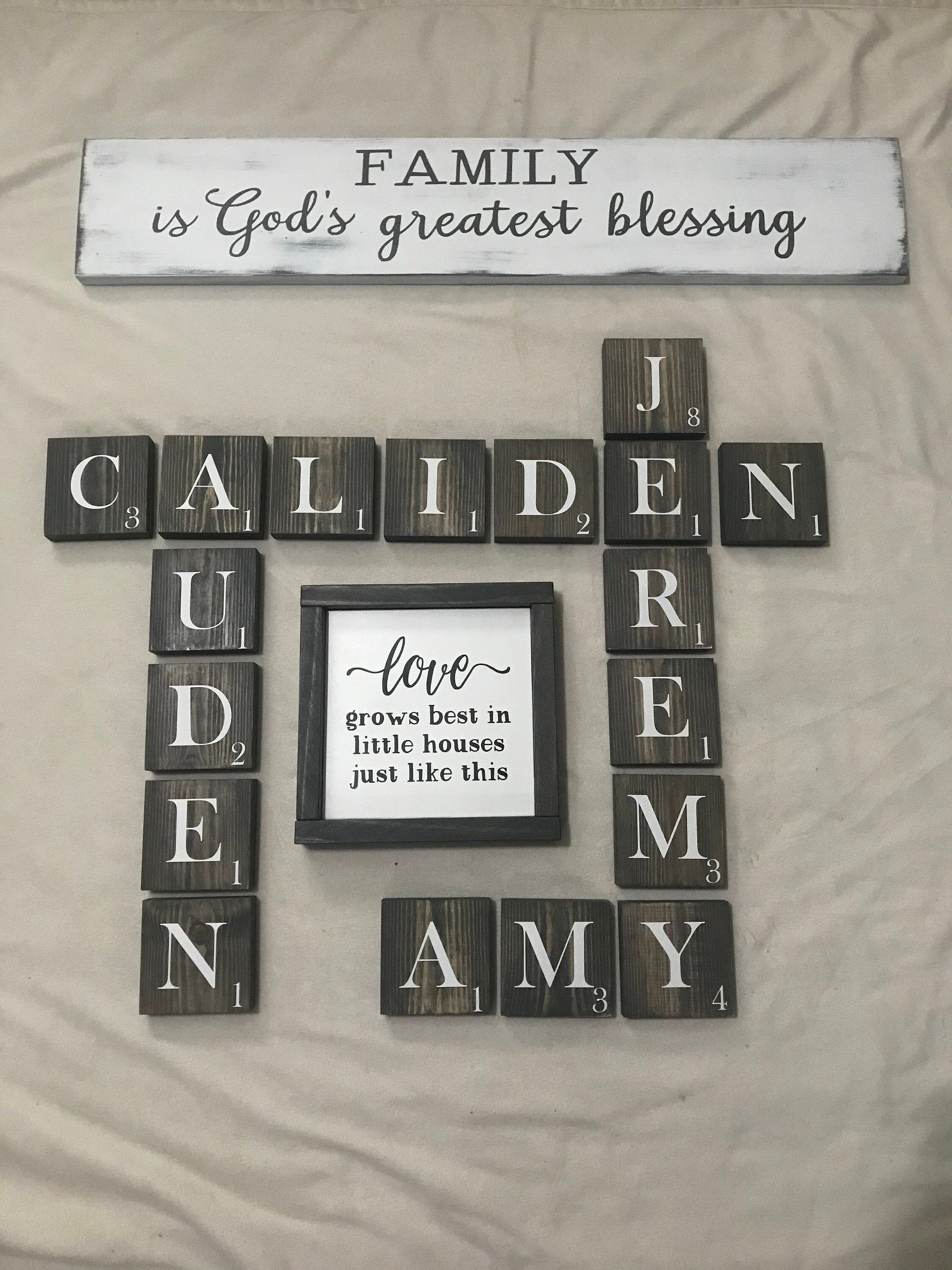 Stained Scrabble Wall Tiles, scrabble letters, painted